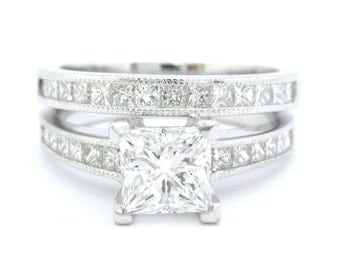 Princess cut diamond engagement ring and band 2.40ctw