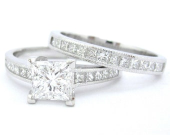 Princess cut diamond engagement ring and band 2.20ctw
