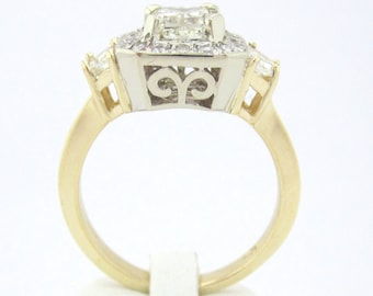 Cushion cut diamond engagement ring art deco 1.52ctw