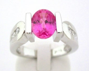 14k white gold semi tension set Oval cut pink sapphire and diamond ring 2.30ctw