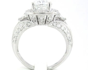 Cushion cut diamond engagement ring 2.36ctw 18k