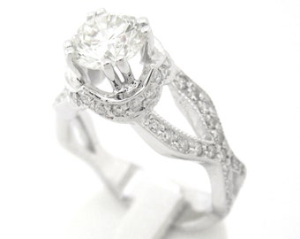Round cut diamond engagement ring antique art deco 1.55ctw