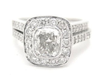Cushion cut diamond engagement ring and band 1.70ctw