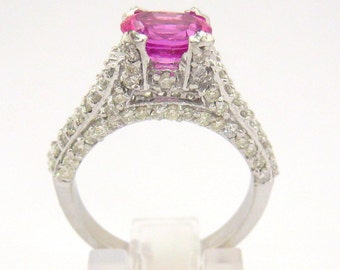 Oval pink sapphire and diamond engagement ring 2.68ctw