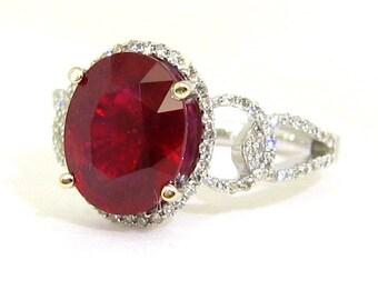 Ruby and diamond designer ring micro pave set 3.49ctw