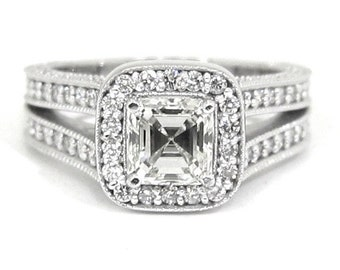 Asscher and round cut diamond ring 2.11ctw