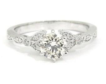 Round art deco antique diamond engagement ring 1.00ct 18k