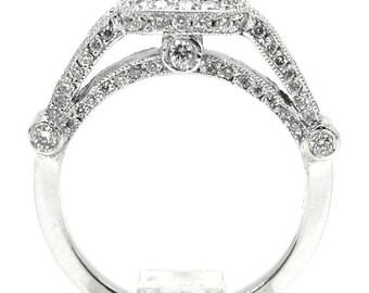 Asscher and round diamond bezel engagement ring 1.81ctw