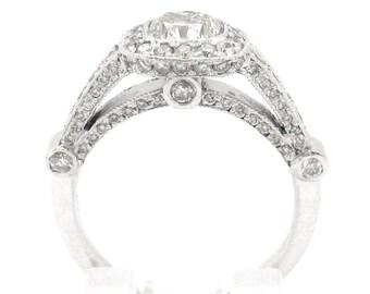 Cushion cut diamond engagement ring bezel set 2.00ctw
