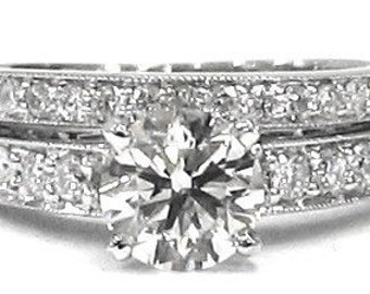 Round diamond engagement ring and band antique style 1.15ctw