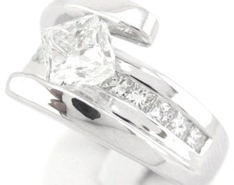 Princess cut tension set diamond engagement ring 1.47ctw 14k