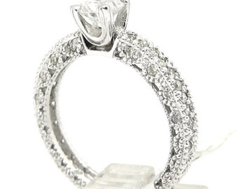 Round diamond engagement ring antique art deco 1.10ctw