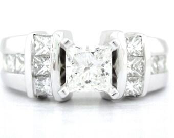 Princess cut diamond engagement ring 1.58ctw