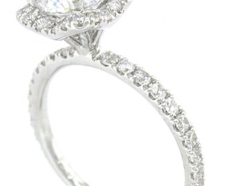 Round cut diamond engagement ring art deco 1.60ctw