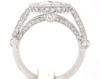 Cushion cut diamond engagement ring bezel set 2.21ctw