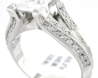 Princess cut diamond engagement ring art deco 1.45ctw