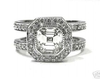 Asscher and round diamond engagement ring bezel set 1.50ctw