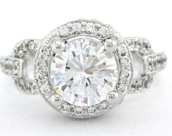 Round cut diamond engagement ring 1.70ctw