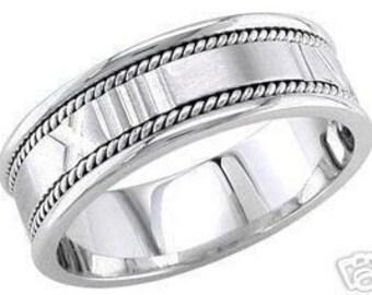 14k white gold mens 8mm roman numerals wedding band