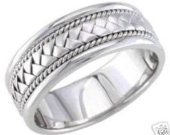 14k white gold mens 8.5mm braided wedding band