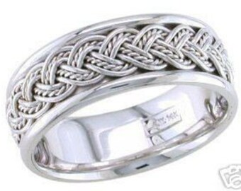 14k white gold mens 8mm link braided wedding band