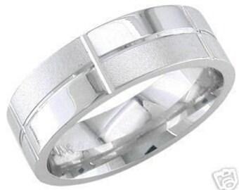 14k white gold mens 7mm sandblast wedding band unique