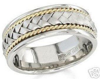 14k white and yellow gold mens 8.5mm braided wedding band