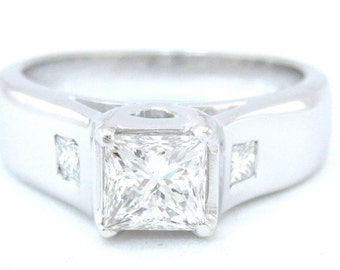 Princess cut diamond engagement ring art deco design 0.87ctw