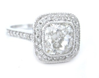 Cushion cut diamond engagement ring bezel set 2.55ctw