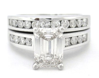 Emerald cut diamond engagement ring and band 2.30ctw