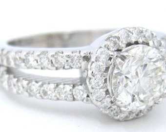 Round cut diamond engagement ring art deco 1.45ctw