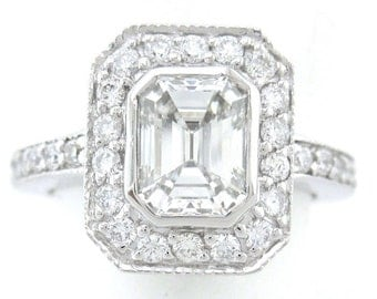 Emerald cut diamond engagment ring art deco 1.60ctw