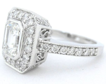 14k white gold emerald cut forever brilliant and diamond engagment ring art deco 1.60ctw