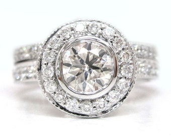 Round cut diamond engagement ring and band bezel set 1.80ctw