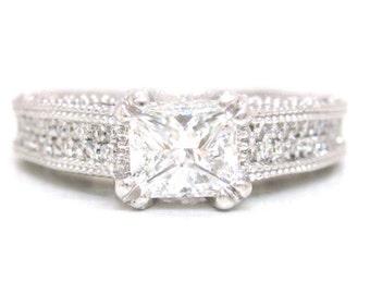 Princess and round diamond engagement ring art deco 1.75ctw