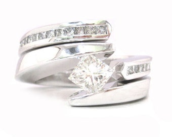 Princess cut diamond engagement ring and band tension set 1.25ctw