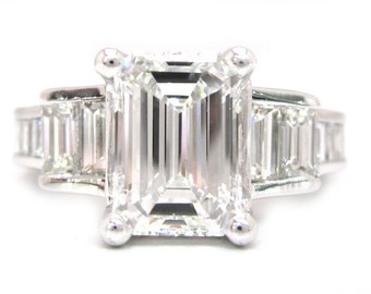 14k white gold Emerald cut forever brilliant moissanite and diamond engagement ring 2.40ctw
