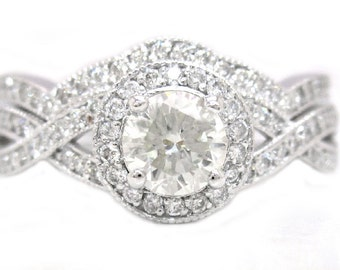 Round cut diamond engagement ring and band 1.75ctw