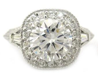 Round cut diamond engagement ring 2.00ctw 18k