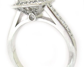 Princess cut diamond engagement ring 1.70ctw 18k