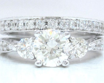 Round diamond engagement ring and band art deco 1.80ctw