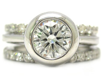 Round diamond bezel set engagement ring and bands 2.60ctw