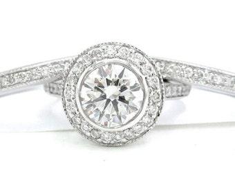 Round diamond engagement ring and bands bezel set 2.10ctw