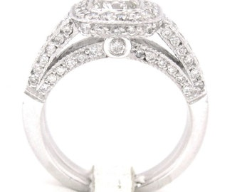 Cushion cut diamond engagement ring and band 1.72ctw