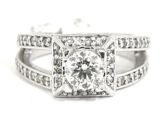 Round diamond engagement ring art deco split band 1.06ctw