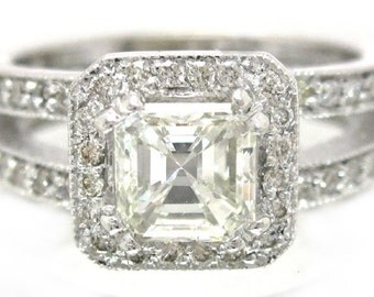 Asscher cut diamond engagement ring deco 1.51ctw