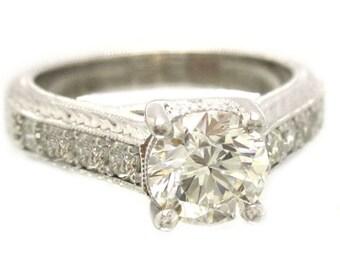 18k white gold round cut diamond engagement ring antique style filigree 1.32ctw