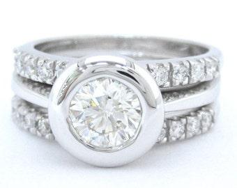 Round cut diamond engagement ring and bands bezel set 14k white gold 1.60ctw