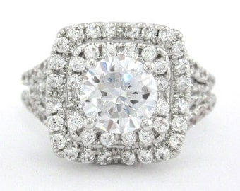 Round cut diamond engagement ring french pave setting 1.35ctw