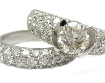 Round cut diamond engagement ring and band semi bezel set 2.65ctw